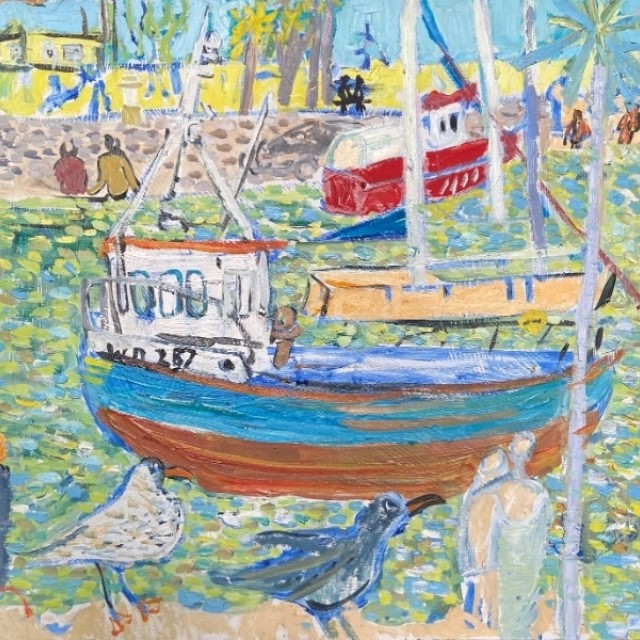 Boats in Courtown with couple sitting on wall, 2020