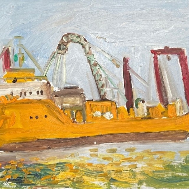 Yellow boat in Arklow Bay, 2008