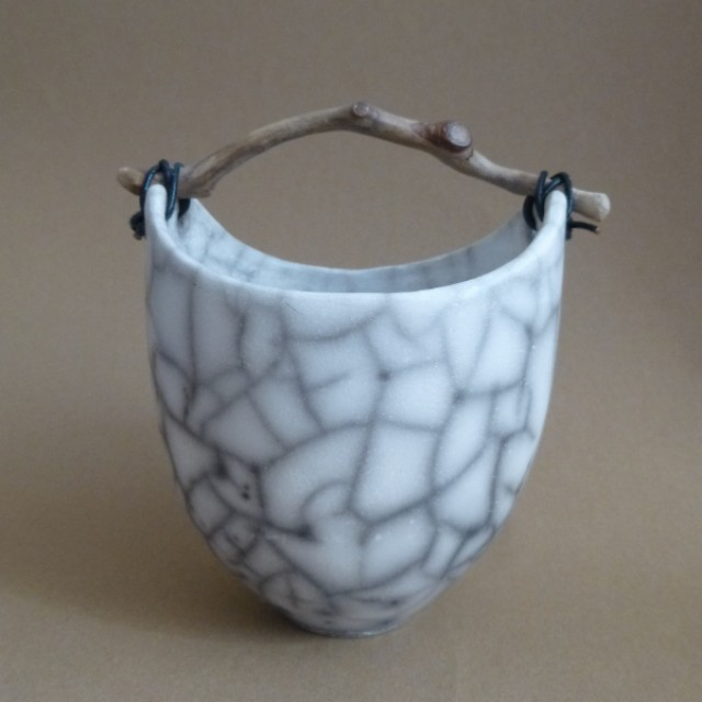 Small Crackle Bowl with twig