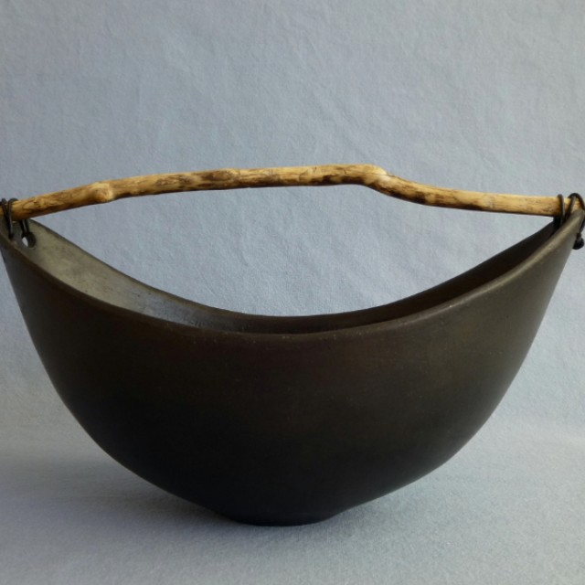 Wide Black Bowl with driftwood
