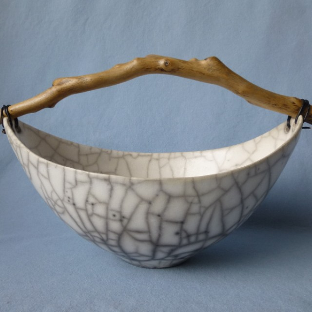 Wide Crackle Bowl with driftwood