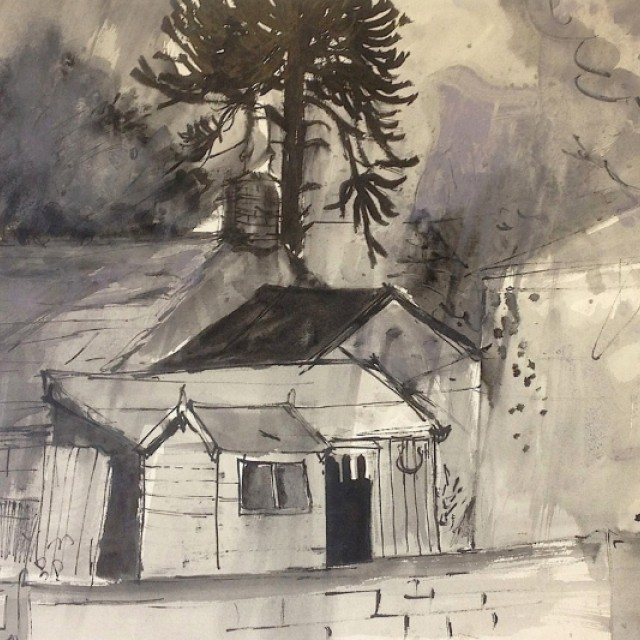 Cottage with Sheds, Millport 1956