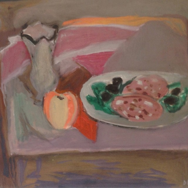 Still Life with Mortaddella verso View of Florence 1956
