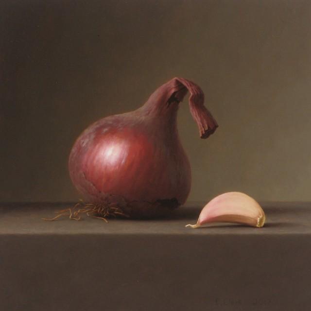 Red Onion with Garlic Clove