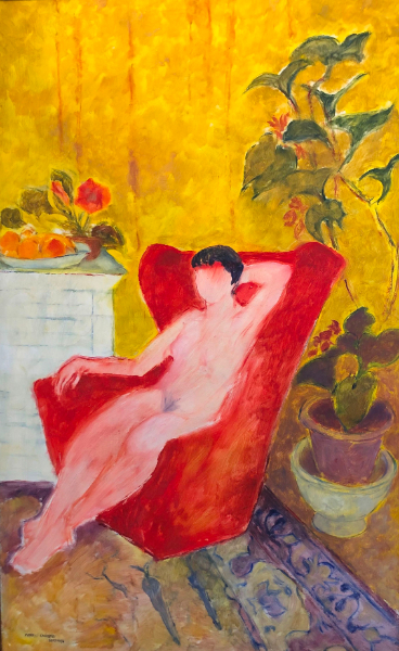 Seated figure in a yellow interior