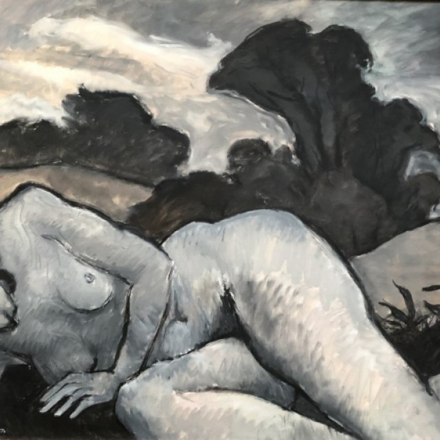 Sleeping figure in a dark landscape, 1976
