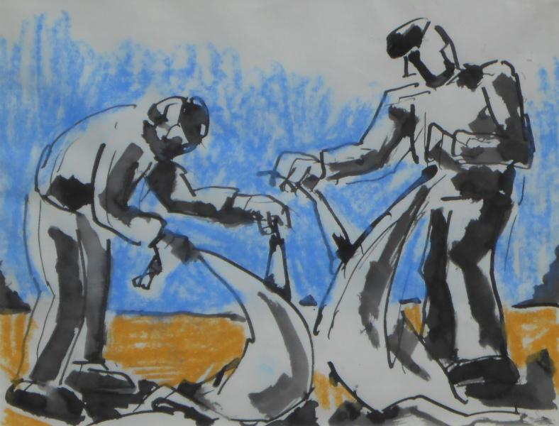 Fishermen mending nets