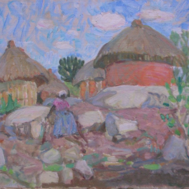 Landscape with Huts & Figure