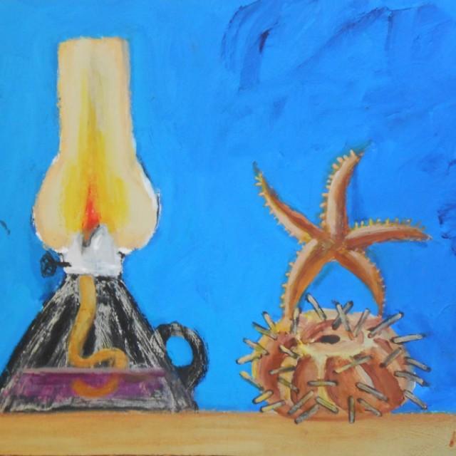 Lamp, Starfish and Sea Urchin Still Life