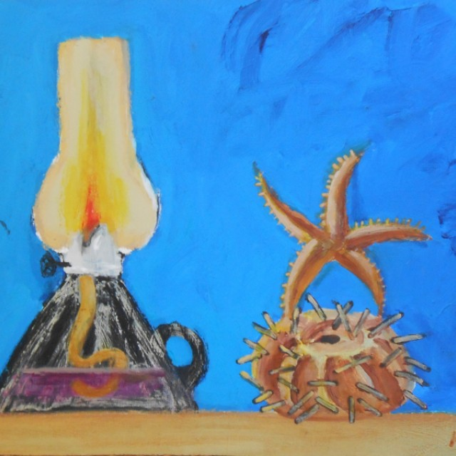 Lamp, Starfish & Sea Urchin Still Life
