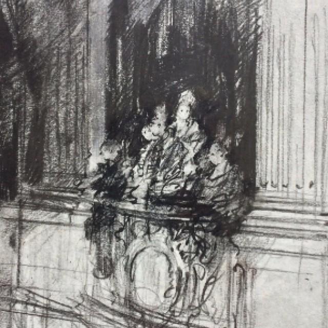 Preparatory sketch, Swan Lake Act III