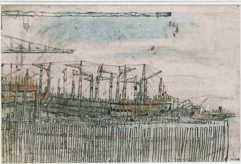 Shipyard with cranes, Port Glasgow
