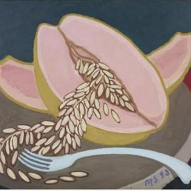 Melon with Spoon and Fork, part of triptych, 1993
