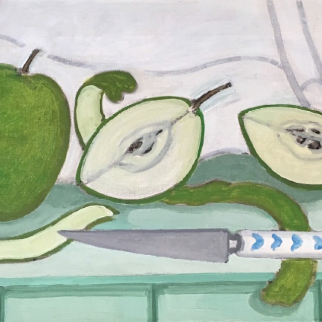 Green Apples with Knife, 1988