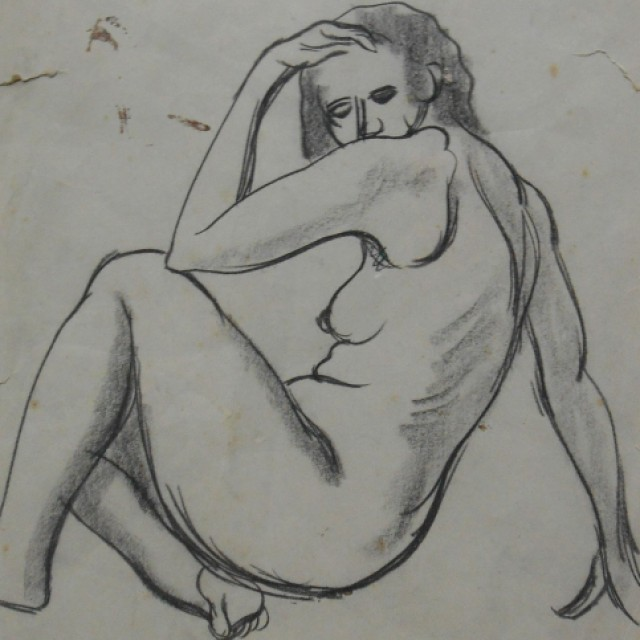 Reclining Nude (verso Two Nude Studies), 1939
