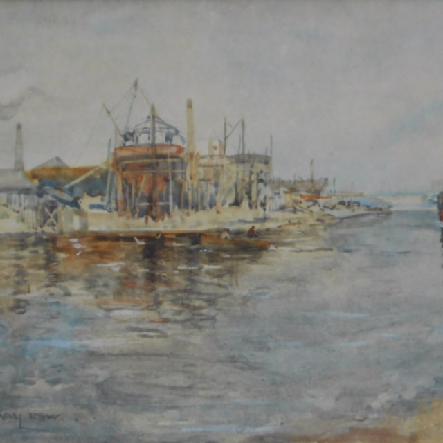River scene with boat and boatyard