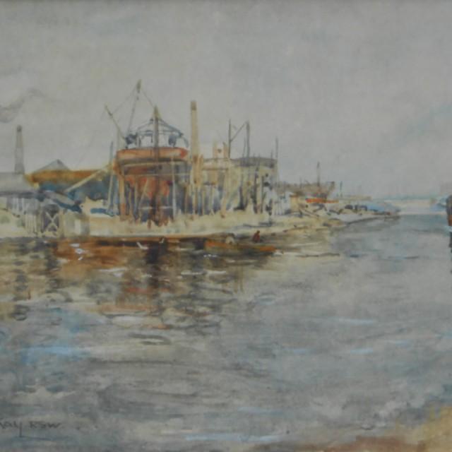River scene with boat & boatyard