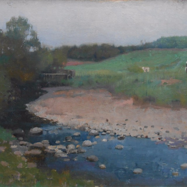 Moniaive, River with figure and sheep