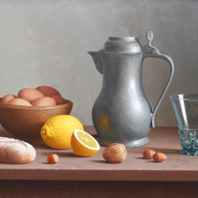 Pewter Jug with Glass, Lemons  and Bowl of Eggs