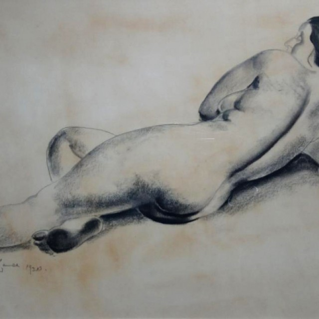 Seated Nude Reclining