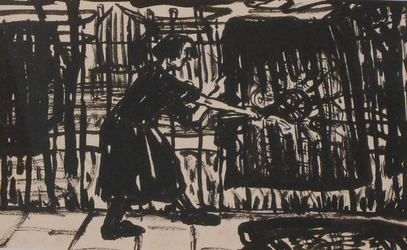 Woman Beating Carpets 1