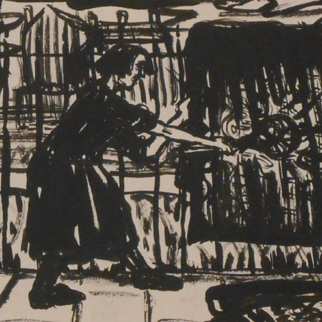 Woman beating carpets