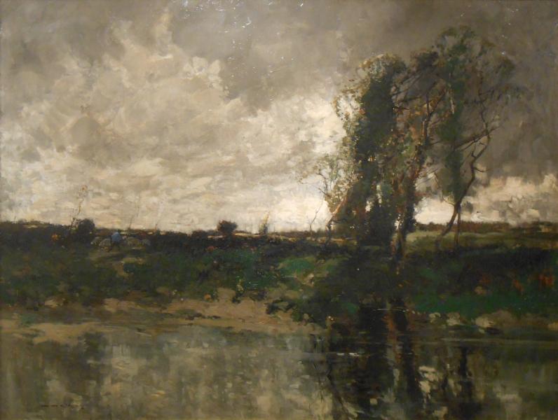 Driving Sheep on a Riverbank
