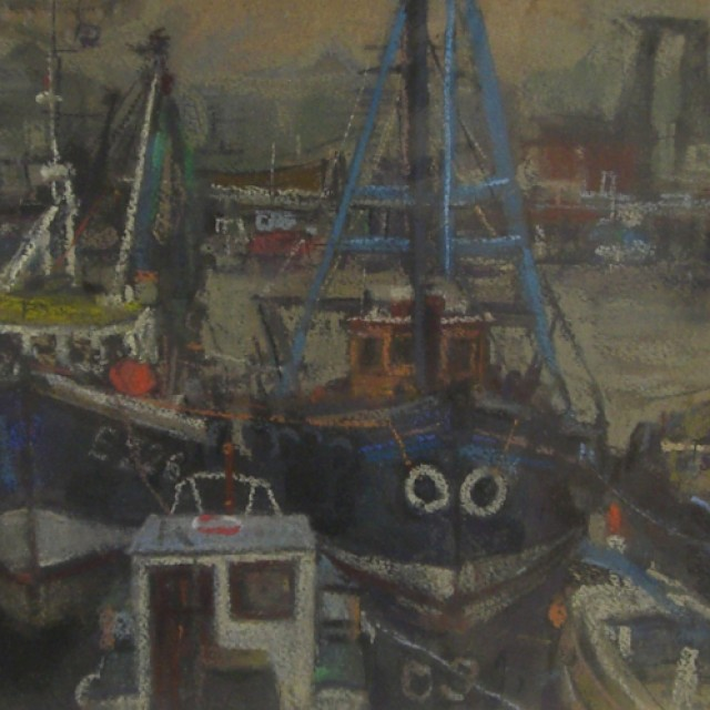 Three blue boats, East India Harbour