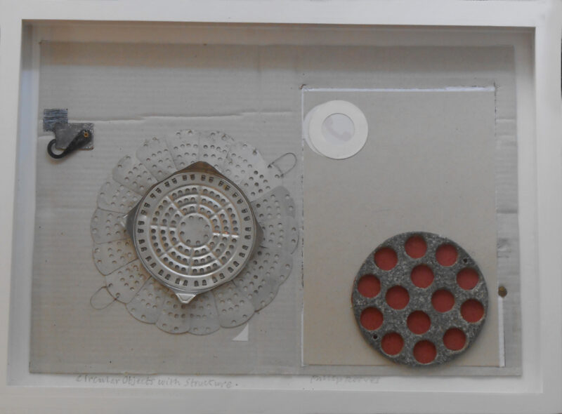 Circular Objects with Structure, collage & mixed media