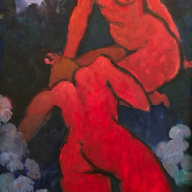 Two red figures on blue background, 1978
