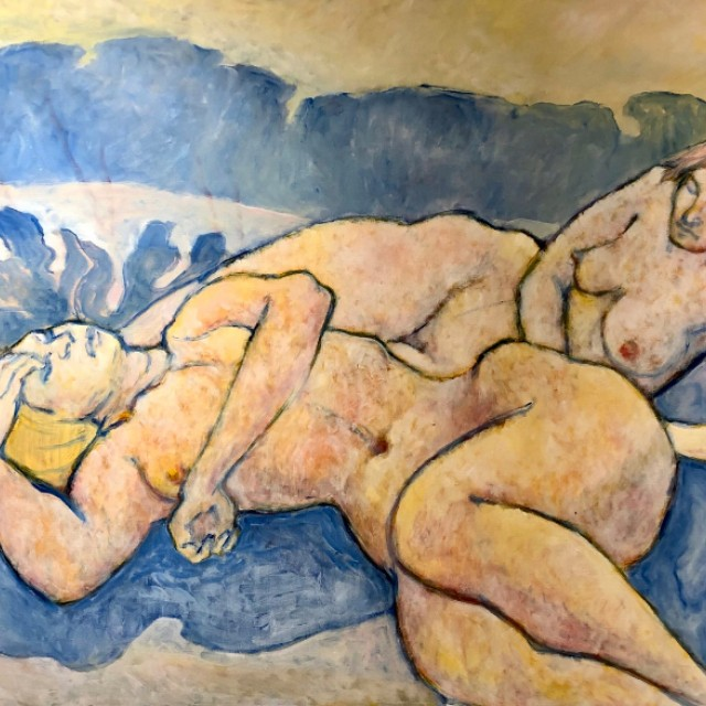 Two figures in yellow and blue, 1977